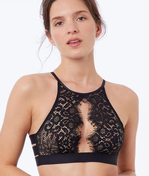 Openwork lace bra