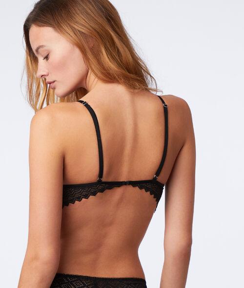 Graphic lace triangle bra, basque