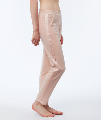 Homewear pants with velvet satin band pink.