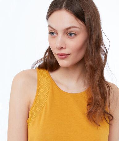 Embroidered shoulder top ocre.