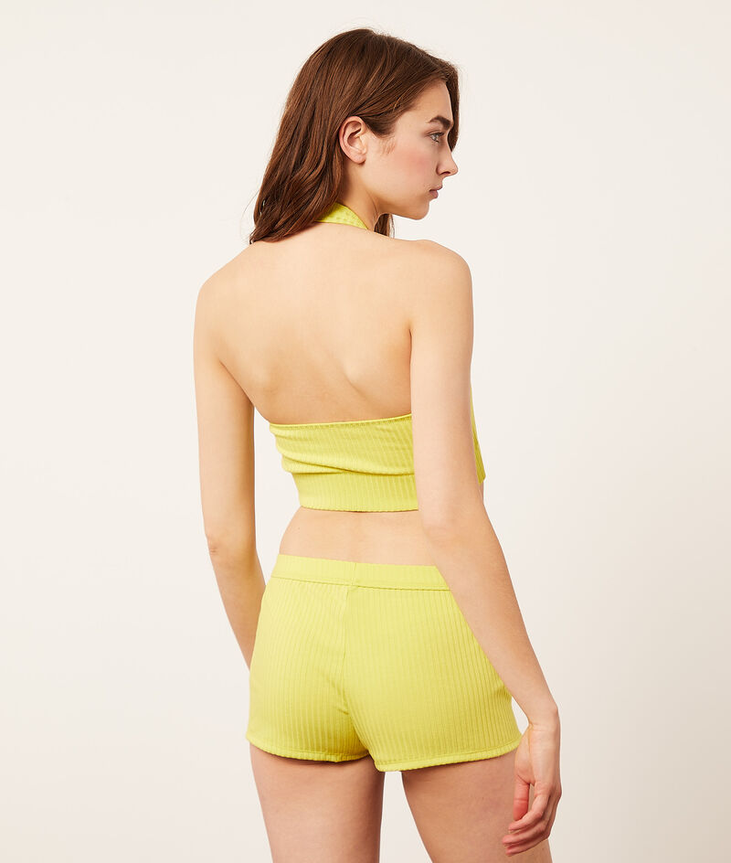 Ribbed mesh backless crop top;${refinementColor}