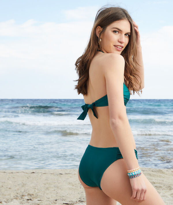 Wireless bandeau tie bikini top with thin pads;${refinementColor}
