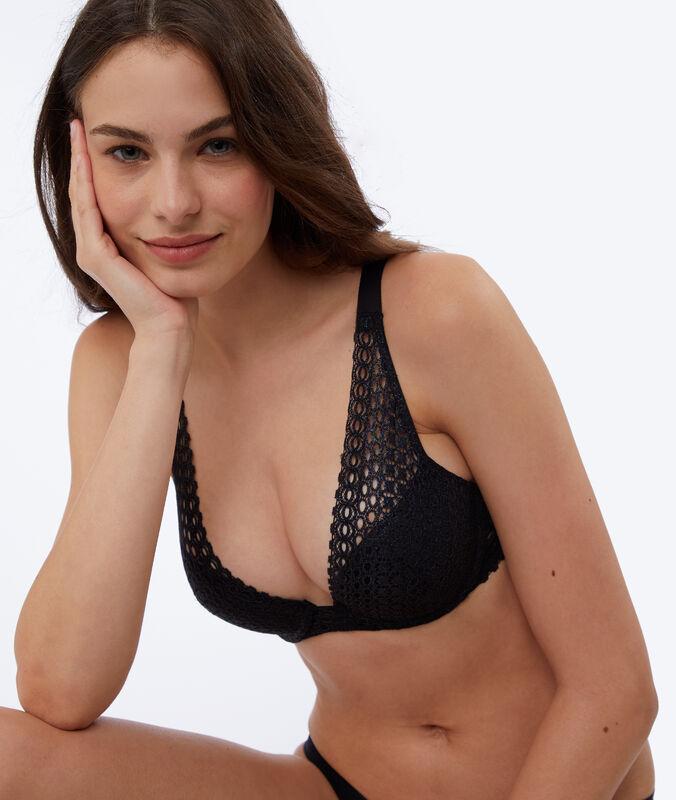 Bra no. 3 - lace triangle push-up bra black.