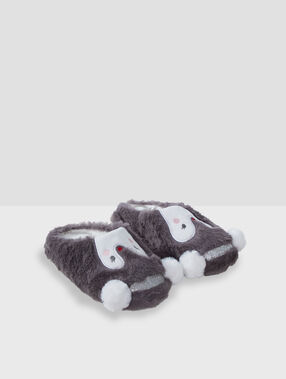 Penguin mule slippers with faux fur grey.