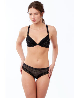 Metallic fiber push-up bra, racer back black.