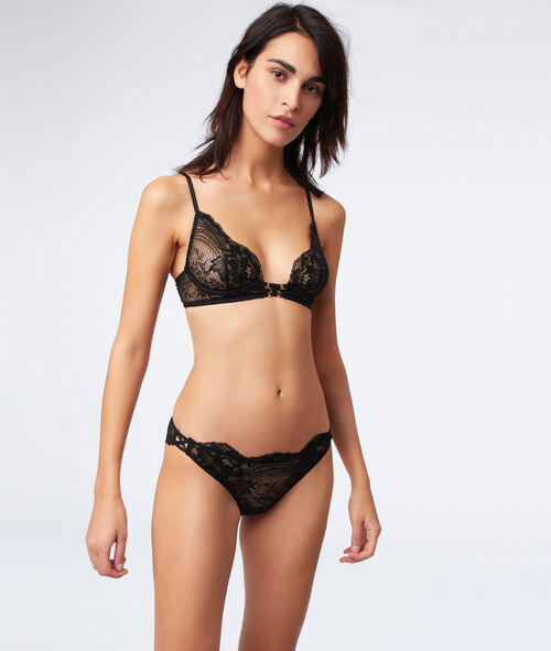 Lace bra with lace-up detailing