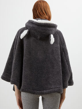 Poncho with faux fur hood anthracite.