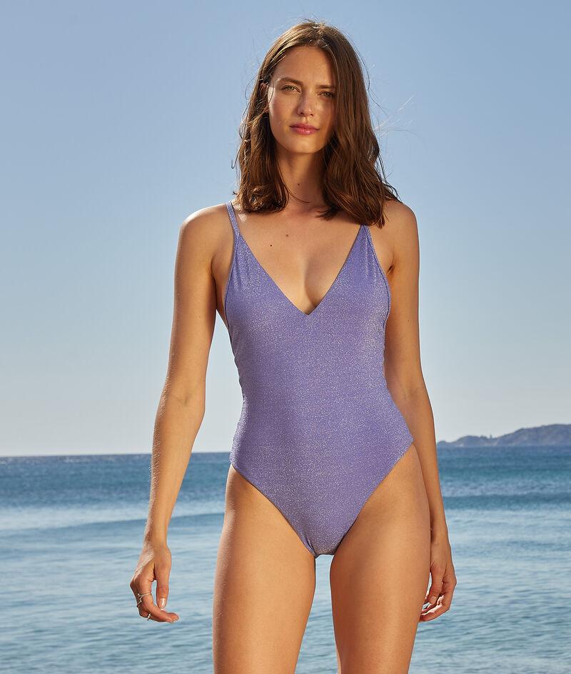 Iridescent Cross-back one-piece swimsuit;${refinementColor}