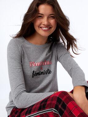 Pyjama top with long sleeves grey.