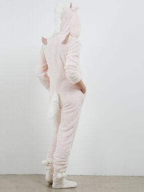 Unicorn onesie pale pink.