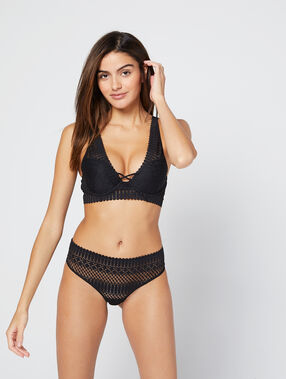 Bra n°3 - triangle bra crossed neckline at the front  black.