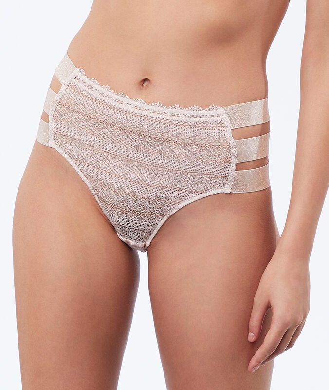 Lace high-waist briefs, 3 bands powder pink.