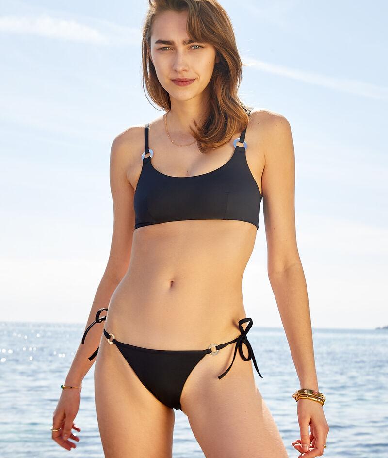 Tied string bikini brief swimsuit;${refinementColor}