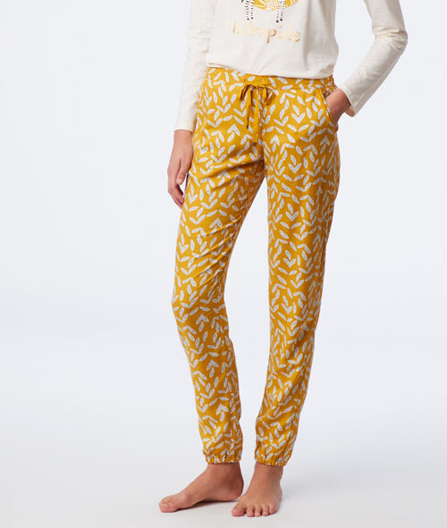 Leaves print trousers