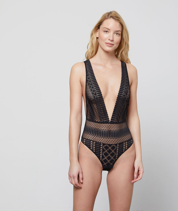 Ornate openwork lace bodysuit  noir.