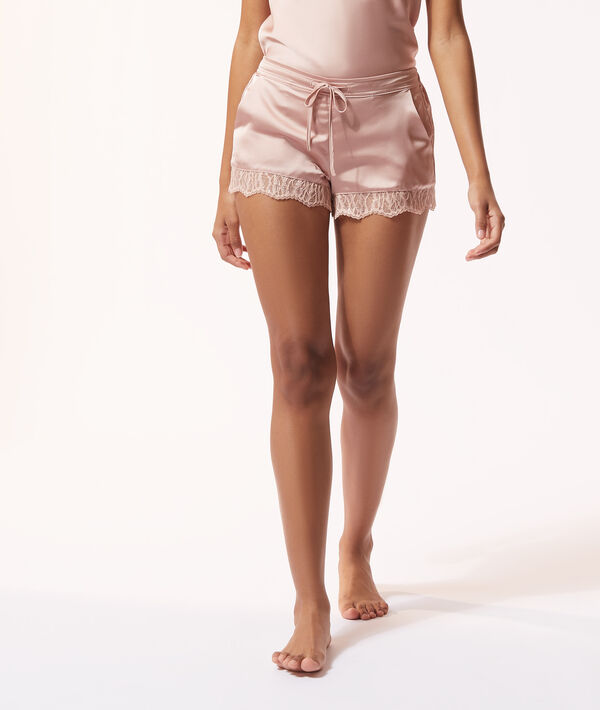 Lace detailing satin shorts;${refinementColor}