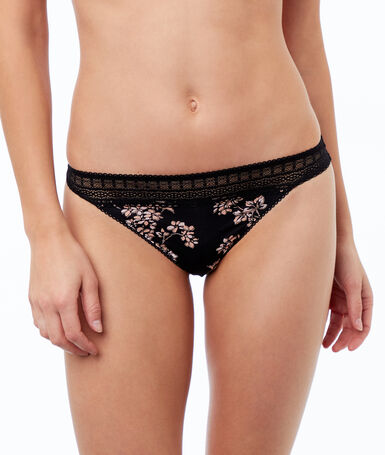Microfiber string with lace trim black.
