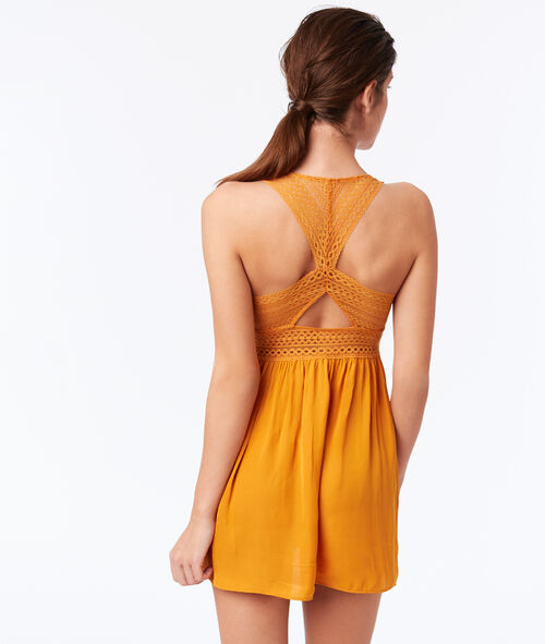 Graphic lace chemise with racer back