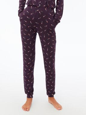 Lipstick print pyjama trousers purple.