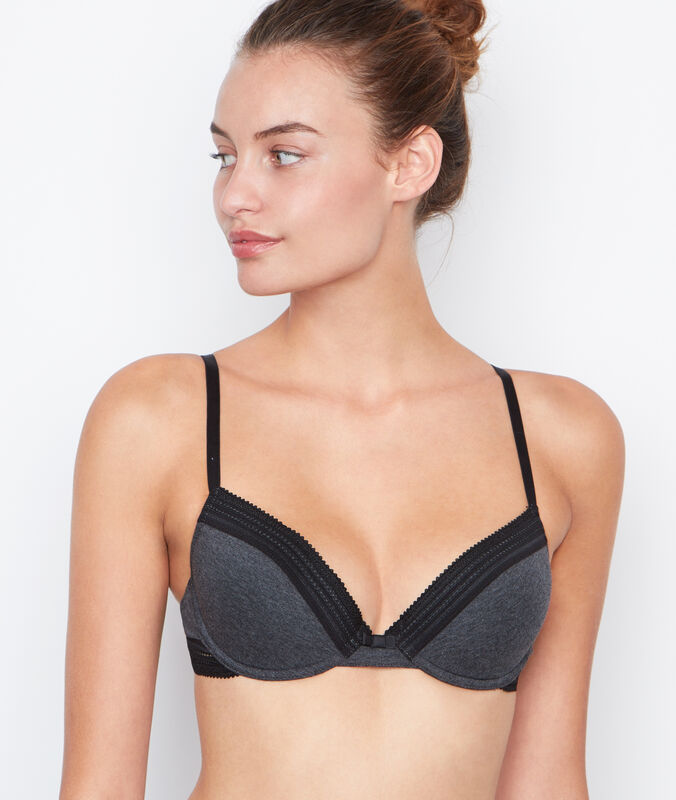 Cotton padded bra anthracite.