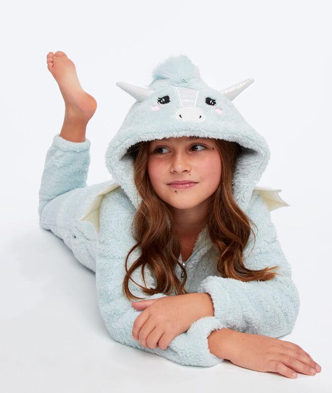 Kids dragon onesie bleu lagon.