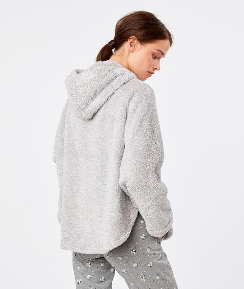 Faux fur hooded poncho