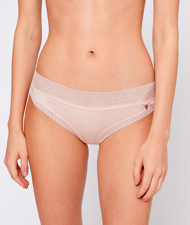 Microfiber hipster with lace trim powder pink.