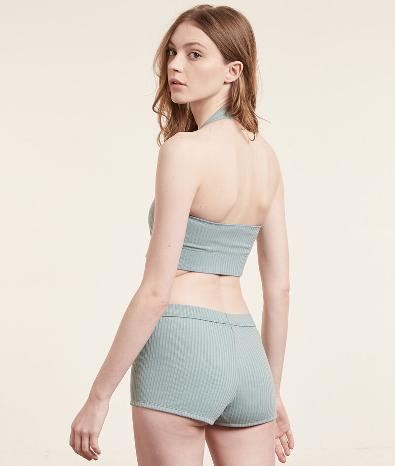 Ribbed-knit crop top bra;${refinementColor}