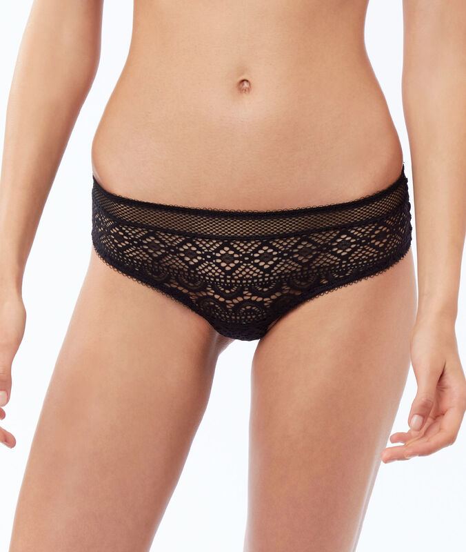 Graphic lace tanga black.