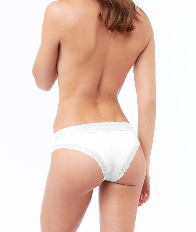 Hipster with lace trim white.