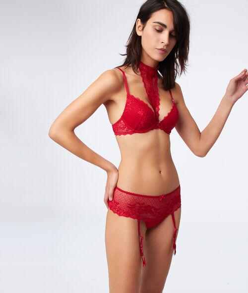 Bra no. 2 - Lace plunge push-up bra, removable choker