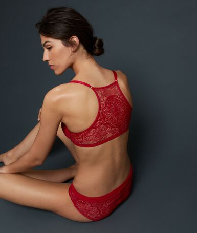 Bra no. 4 - classic padded lace bra with racer back red.