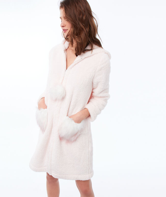 Faux fur hooded negligee pale pink.