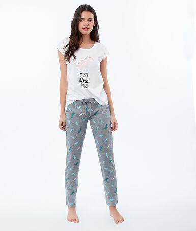 Dinosaur print trousers gray.
