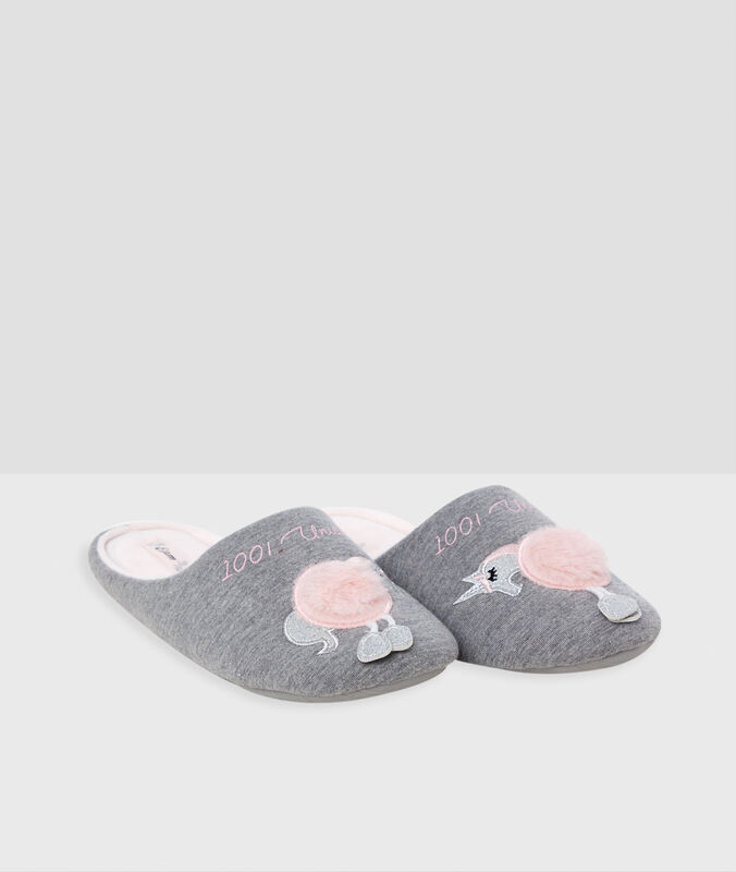 Unicorn slippers gray.