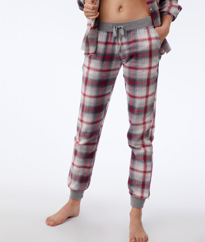 Chequered trousers gray.