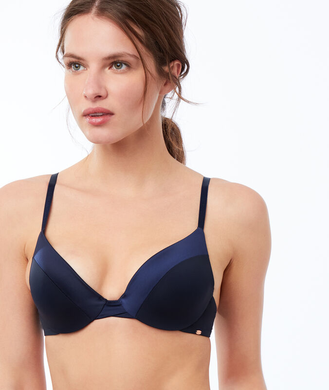 Bra no. 2 - microfiber plunging push-up bra navy.