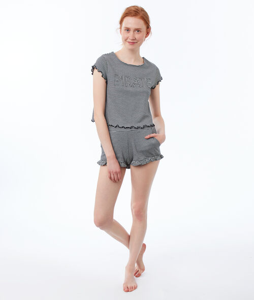 Short striped T-shirt with message