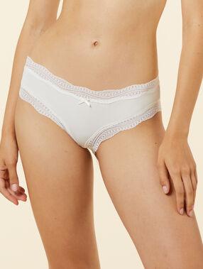 Ornate lace-edged shorts white.