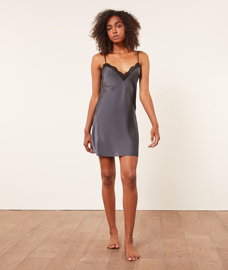 Satin and lace V-neckline nightdress;${refinementColor}