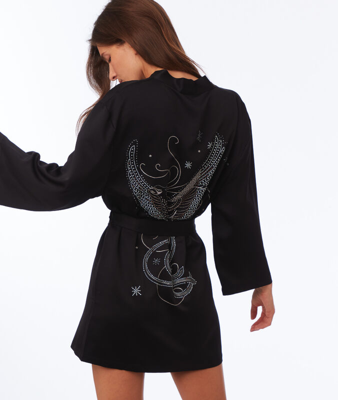Embroidered negligee with rhinestones on the back black.