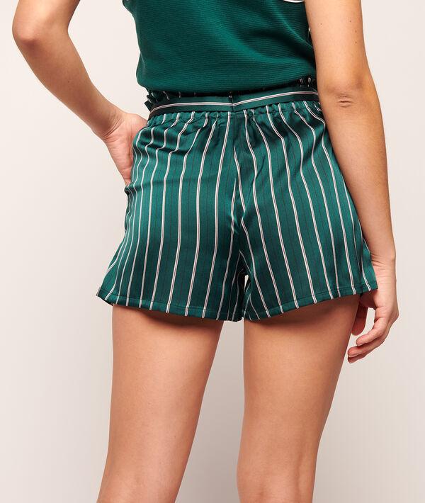 Satiny shorts in stripes;${refinementColor}