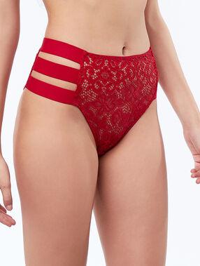 High-waist briefs with 3 bands red.