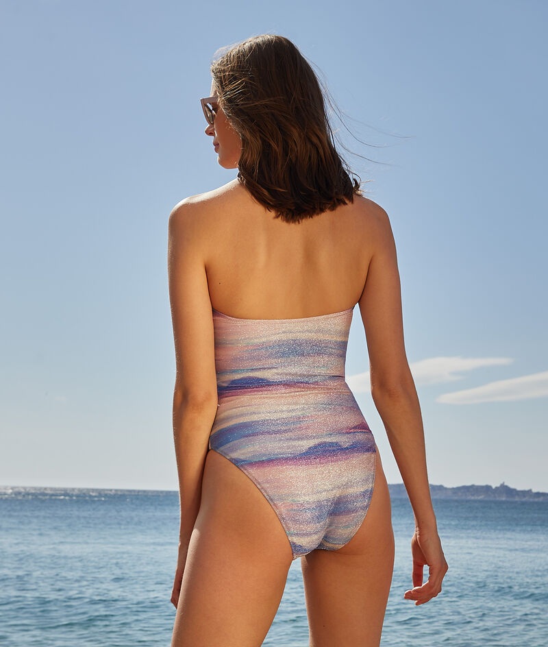 One-piece swimsuit non-wired strapless bandeau bra;${refinementColor}