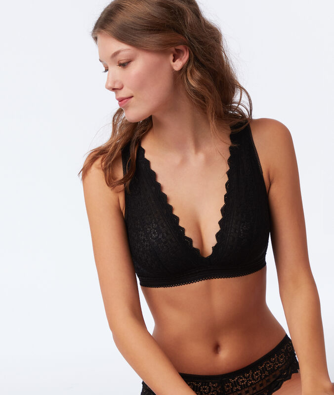 Lace triangle bra without underwiring, open back black.