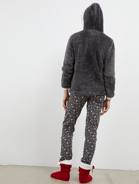 Three-piece elephant print pyjama anthracite.