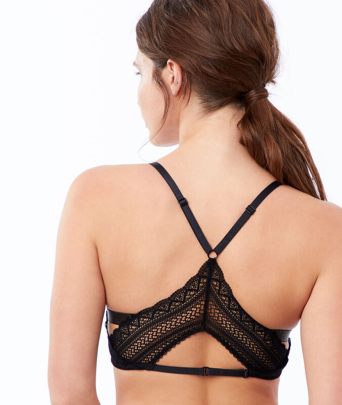 Bra no. 2 - lace plunging push-up, racer back black.