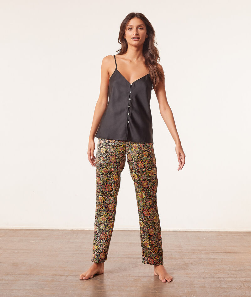 Satin high-waist pyjama trousers ;${refinementColor}