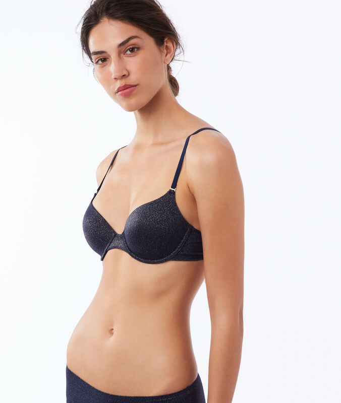 Bra 5 - microfiber classic padding navy/metalized fibers.