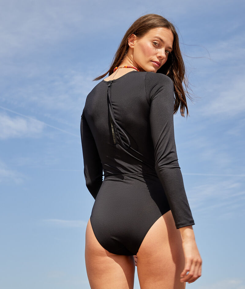 Long-sleeved one-piece surf swimsuit with zip closure at back;${refinementColor}
